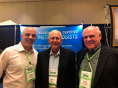 ACM members Mark McGinnis and Steve Harned with Retired National Hurricane Center Director Max Mayfield (Middle)